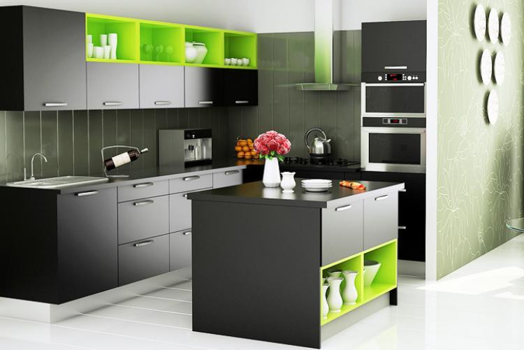 L Shape Kitchen with Island | ZIYKO